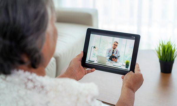Patient receiving telesupport healthcare.