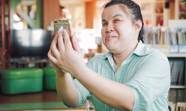 Woman using smartphone voice navigation