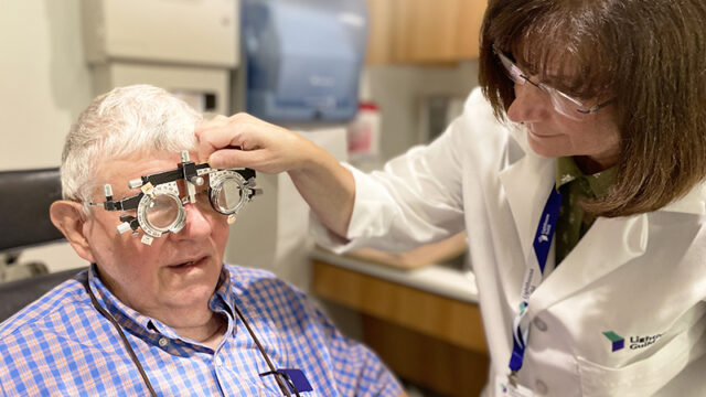 A client getting his prescription adjusted.