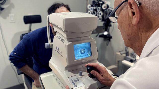 Doctor examining patient's retina